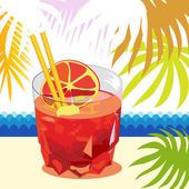 Glass with cocktail and palm leafs — Stock Vector