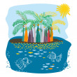 Remote island with palms and fishes in the water — Stock Vector #75319269
