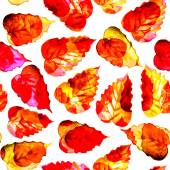 Seamless watercolor red leaves pattern with white background — Stock Photo