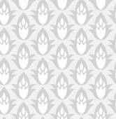 Grey seamless geometric pattern with decorative flowers — Stock Vector