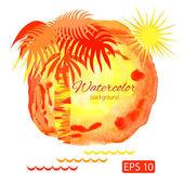 Fondo acuarela naranja verano con palmeras y sol — Vector de stock