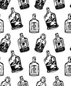 Seamless pattern with different alcohol bottles — Stock Vector