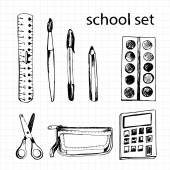 Set of different school items: ruler, scissors, pen, pencil, cal — Stock Vector