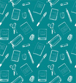 Seamless school pattern with notebooks, scissors, rubber, sharpe — Stock Vector