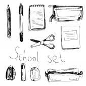 School set with notebooks, scissors, rubber, sharpener; eraser, — Stock Vector