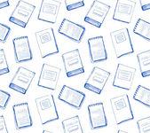 Branco padrão sem emenda com cadernos e livros — Vetor de Stock