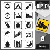 Mono Icons - Camping 1. Flat monochromatic icons — Stock Vector