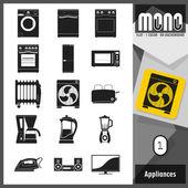 Mono Icons - Appliances 1. Flat monochromatic icons — Stock Vector
