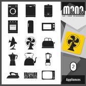 Mono Icons - Appliances 2. Retro style flat monochromatic icons — Stock Vector