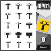 Mono Icons - Hammers 1. Flat monochromatic icons — Stock Vector
