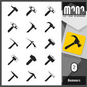 Mono Icons - Hammers 2. Flat monochromatic icons — Stock Vector