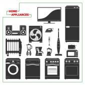 Scaled monochromatic home appliances vector illustration. Modern — Stock Vector