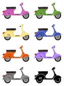 Scooter motorcycles isolated on white background. Side view — Wektor stockowy