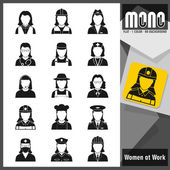 Mono Icons - Women at work. Flat monochromatic icons — Stock Vector