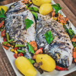 Closeup of grilled dorada garnished with potato and vegetables — Stock Photo #76594575