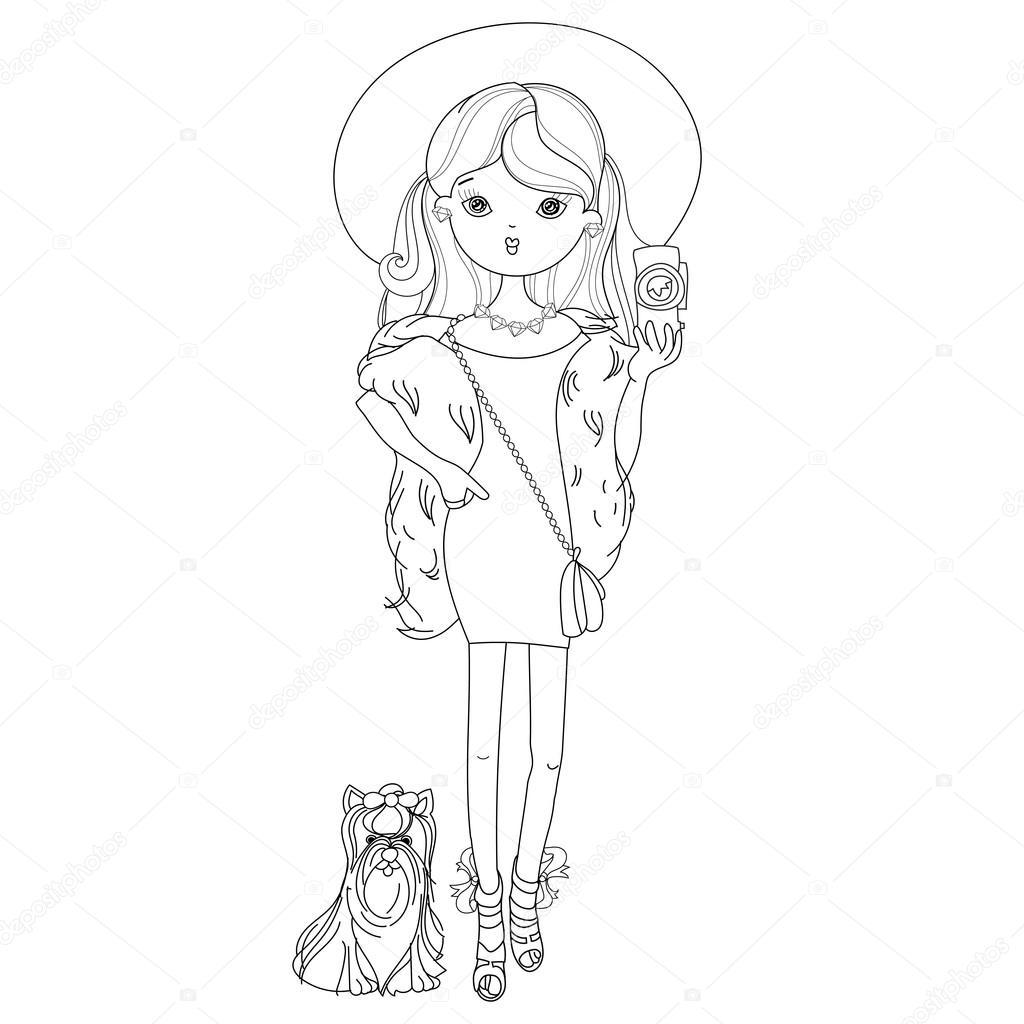 vector schattig mode meisje met hond stockvector