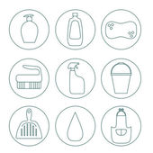 Cleaning products flat icon vector set. — Stock Vector