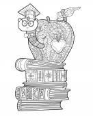 Bookworm doodle — Stock Vector