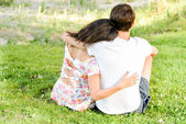 Happy loving young couple outdoors — Stock Photo