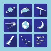 Space, astronomy icons set - vector illustration — Stock Vector