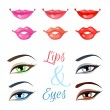 Vector set of lips and eyes. — Stock Vector #73531721