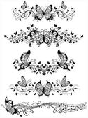 Floral patterns with butterflies. — Stock Vector