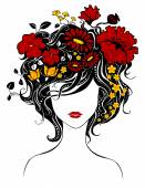 Abstract beautiful girl with flowers in hair. — Stock Vector