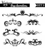 Vector set 2. Vintage page decorations.  — Stock Vector