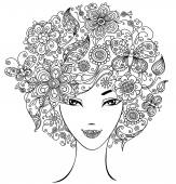 Woman with flowers and butterflies in hair. — ストックベクタ