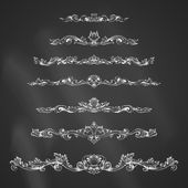 Vector set of chalk vintage page decorations and dividers. — Stock Vector