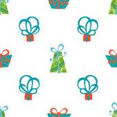 Nahtloser Vektor-Muster von Geschenkboxen. — Stockvektor