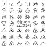 Set of doodles road sign icons. — Stock Vector