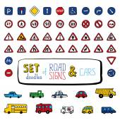 Set of doodles road signs and cars. — Stock Vector