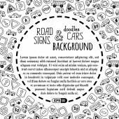 Doodles road signs and cars. — Stockvektor