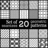 20 geometric seamless patterns set.  — Stock Vector