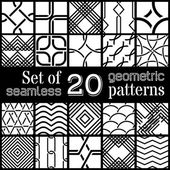 Vector set of 20 geometric seamless patterns. — Stock Vector