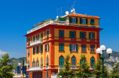 Colorful living building in the city center. Genoa city. — Stock Photo