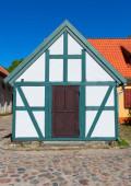 Half-timbered colorful house. Klaipeda, Lithuania. — Stock Photo
