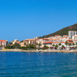 Panoramic view of the Ajaccio main quay and public beach. France. — Stock Photo #74728717
