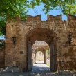 Arches of Medieval castle in old town of Rhodes, Greece — Stock Photo #75151865