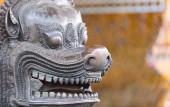 Face of bronze lion statue. Wat Pho Temple. Bangkok — Stock Photo