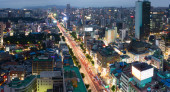 Aerial view of Jongno-Gu district. Seoul — Stock Photo