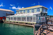 """The Dockside"" restaurant and bar is a food complex located at Queens wharf. Wellington city, New Zealand. — Stock Photo"