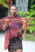 Maori tribes traditional greeting show. Vicinity of Rotorua town. New Zealand — Stock Photo