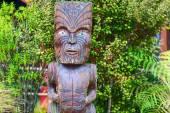 Maori tribes traditional village. Handmade wooden details. Rotorua, New Zealand. — Stock Photo