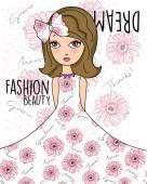 Fashion beauty girl's dream — Stock Vector
