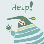 Businessman creature needs help. — Stock Vector #78252560