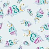 シームレスな幼稚なアルファベットのパターン ベクトル — ストックベクタ