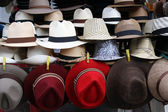 Hats on a market stand — Stock Photo