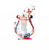 Colorful lyre design — Stock Vector